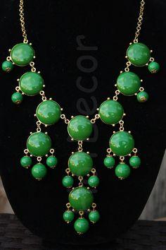 Grass Green Statement Necklace Bib Jewelry Beaded by HotDecor, $12.99