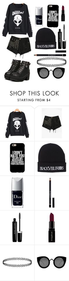 """""""Casual Emo"""" by xiaflo ❤ liked on Polyvore featuring WithChic, Christian Dior, Givenchy, Marc Jacobs, Smashbox, Quay, tumblr, emo and goth"""