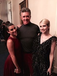 Lea Michele, Emma Roberts and Alan Thicke on the set of the Thanksgiving episode of Scream Queens