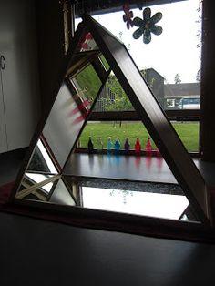 PEDAGOGISKA KULLERBYTTAN: Välkomnande Växthuset Triangle Mirror, Triangle Love, Reggio Classroom, Outdoor Classroom, Reggio Emilia, Do It Yourself Projects, Projects To Try, Play Spaces, Light Reflection