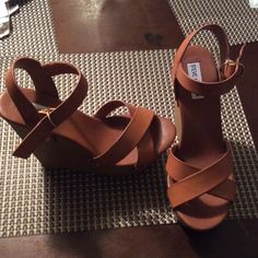 Steve Madden Wedges Carmel colored tan Wedges, Never worn out size 9 Steve Madden Shoes Wedges
