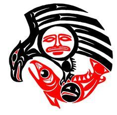 salmon and eagle line art images Native American Print, American Indian Art, American Symbols, Native Drawings, Haida Tattoo, Kunst Der Aborigines, Sketch Manga, Line Art Images, Haida Art