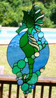 stained glass beveled king seahorse