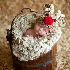 Reindeer Crocheted Infant Hat