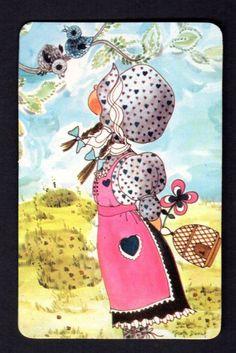 Vintage Swap Card Girl Watching Bird Blank Back | eBay