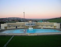 Saltdean Lido, Brighton & Hove, UK. An Art Deco Lido designed by architect R.W.H. Jones. Originally listed at Grade II by English Heritage for its architectural and historical importance