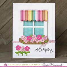 35 handmade greeting card ideas to try this year greeting cards windows shaped shaker card set by queen and company hello spring greta hammond m4hsunfo