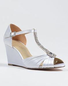 White Satin Wedge Wedding Shoes by My Glass Slipper Wedding Wedges, Wedge Wedding Shoes, Wedding Slippers, Metal Comb, Glass Slipper, Pearl White, White Satin, Autumn Wedding, Beautiful Bride