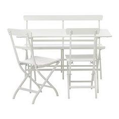 MÄLARÖ table, bench and 2 armchairs, white