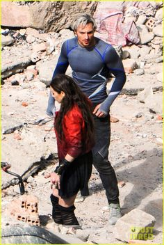 Elizabeth Olsen and Aaron Taylor-Johnson on the Italian AVENGERS: AGE OF ULTRON set, dressed in their 'Scarlet Witch' and 'Quicksilver' costumes.