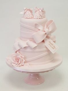 Christening Cake- Emma Jayne Cake Design Taryn this is second favourite but with slightly different booties as not sure about these ones. Gorgeous Cakes, Pretty Cakes, Cute Cakes, Amazing Cakes, Sweet Cakes, Bolo Tumblr, Baby Girl Cakes, Baby Christening, Girl Baptism