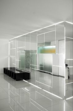 Innovative glass #wall with light. #office #design