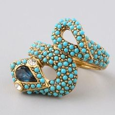Turquoise,Saphire and Diamond gold snake ring~ ♛