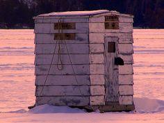 Ice Fishing Shanty on Burt Lake in Indian River,Michigan