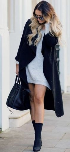 Gray Oversized Knit Dress |Black And Gray Winter Street Style | That Pommie Girl
