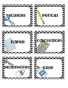 Black and White Chevron Classroom Supply Labels or Possibly Laminate and distribute as chore cards.