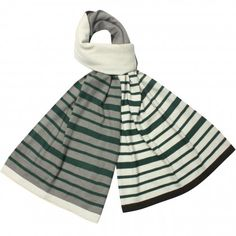 Playful Multi-Color Stripes and Solid Blocks Acrylic Long Scarf