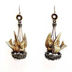 Pair of 19th century gold and seed pearl bird and nest pendant earrings, c.1850