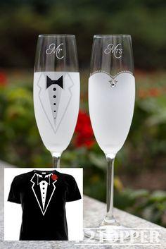 Bride and Groom Champagne Glasses Wedding Glasses Wedding