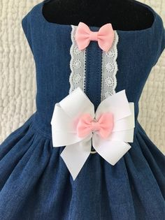 Items similar to Dog Dress Shabby Chic Denim Dress on Etsy Dog Dresses, Baby Girl Dresses, Loyal Dog Breeds, Dog Organization, Beaded Dog Collar, Kids Dress Wear, Cute Dog Clothes, Dog Hair Bows, Dog Clothes Patterns