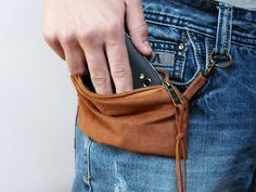 Vegan rust brown belt bag cell phone covers rustic by SKmodell, $26.00