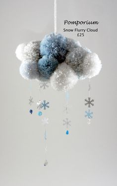 This delicate cloud measures 21cms across with glittery snowflakes falling 18cms & a hanging loop of 18cms. More to see on Facebook @ Pomporium. More
