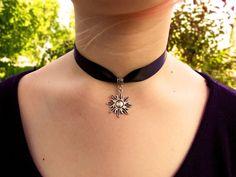 Sun choker, ribbon choker, sol necklace, thick black ribbon choker, grunge, goth, celestial, choker necklace - pinned by pin4etsy.com