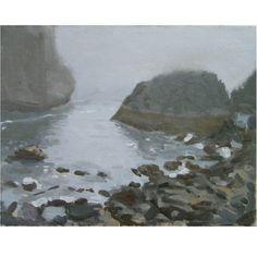 Original Framed Oil Painting of Oregon Pacific Ocean Sea Shore: Gray Day at Harris Beach