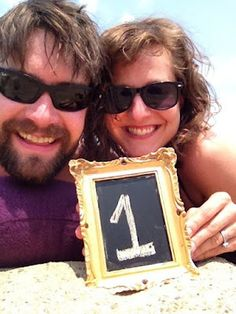 anniversary idea: chalkboard paint + frame + number of years married = a fun photo tradition! #wedding #anniversary