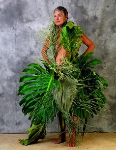 """""""The Birth Of Fashion Revisited"""" project of foliage couture by Louda Larrain inspired by the exuberant nature of Kauai.  Photography: Gilles Larrain (www.gilleslarrain.com) Model: Katherine Muzik"""