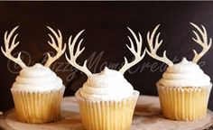 Antler Cupcake Toppers - No one will mistake the whimsey of these Deer Antler Cupcake Toppers. Perfect for Deer Hunter Widow parties, holiday gatherings and more.