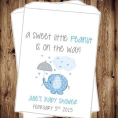 A Sweet Little Peanut - Elephant Baby Shower - Baby Shower - Favors - Mom to be - Candy Bags - Elephant Favors - Boy Baby Shower