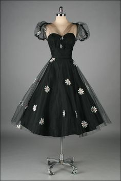 1950's Embroidered Tulle Dress