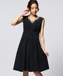 UNITED ARROWS WOMENS(ユナイテッドアローズウィメンズ )のUAP U/N TFT フロントギャザー ノースリーブ ワンピース(ワンピース・ドレス) ネイビー