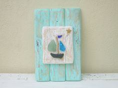driftwood and sea glass boat - very cute idea