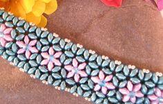 Superduo Bead Bracelet, Super Duo Bracelet, Flower Beaded Bracelet, Crystal Beaded Bracelet, Aqua Beaded Bracelet, Teal Superduo Bracelet
