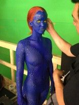 Jennifer Lawrence is painted in blue bodypaint for X-Men: inspiration to work harder!