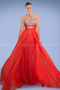 Giddy Keyhole Neckline Prom Dress in Ample Crystals Detail and Pleats