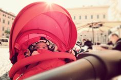 baby in red #baby #newborn #rome #downtown #farnese #piazza #french #ambassy #stokke #xplory #red #pic #wideangle #sun