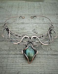 Labradorite fairy copper wire wrapped necklace by Tangledworld