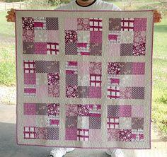 Purple Nine-patch Baby Quilt