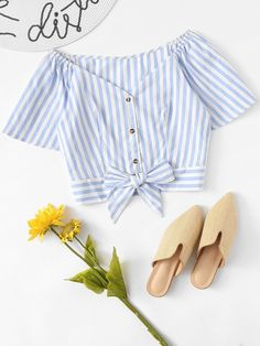 Shop Off Shoulder Knot Hem Striped Shirt online. SheIn offers Off Shoulder Knot Hem Striped Shirt & more to fit your fashionable needs. Girls Fashion Clothes, Teen Fashion Outfits, Girl Fashion, Crop Top Outfits, Summer Outfits, Cute Outfits, Trendy Dresses, Cute Dresses, Western Outfits