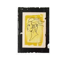 Yellow and Black Line Drawing - Mixed Media Original - Unique Wall Art - Small Art Gift - Punky Portrait of a Woman - Glam Rock - Recycled by eightyacresart on Etsy