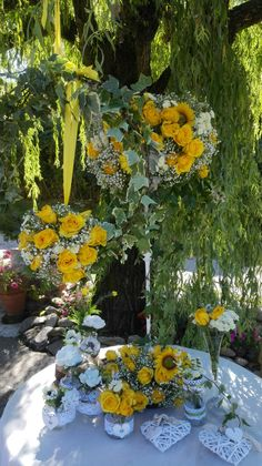 Wedding centetpiece..all yellow  ..Roses and Sunflowers.