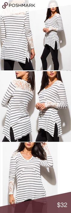 """Chic Lace Striped Hi Low Flowy Tunic Top SML Gorgeous chic lightweight waffle knit lace detail hi low flowy stretchy tunic top. Ivory & black striped 60% Polyester - 35% Rayon - 5% Spandex  Small (Will Fit Medium) Bust 32-34-36-38 Front Length 26"""" Back Length 32""""  Large (Will Fit XL) Bust 38-40-42-44 Front Length 27"""" Back Length 33"""" Tops"""