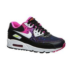 Nike Girls Air Max 90 Premium Mesh Gs Kids 724875-002 Black Shoes Youth Size