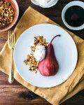 Poached Pears with Pecan Granola and Whipped Cream froom @acouplecooks