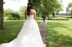 Radebaugh/Betancourt Wedding - Remnant Fellowship Weddings First look, wedding dress back, long train, wedding day, photo ideas, bridal hair ideas, navy suit
