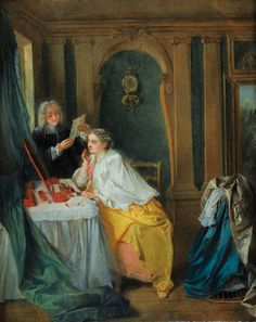La toilette de Madame Geoffrin - the Salonnière Madame Geoffrin getting ready for her guests; by Nicolas Lancret - Rococo 18th century salons