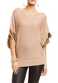 2b Sequin Trim Dolman Sweater